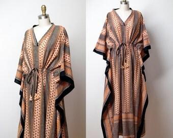 1970s Indian Cotton Dress / 70s Block Print Caftan