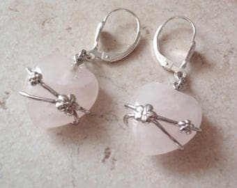 Rose Quartz Earrings Hearts Sterling Silver Floral V0613