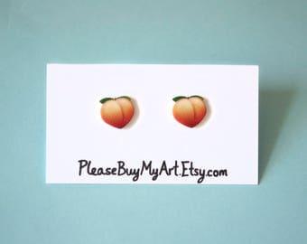 Peach Emoji Cartoon Stud Earrings Gift Idea
