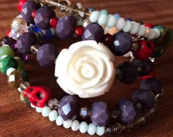 White Rose and Sugar Skull Memory Wire Wrapped Boho Bracelet