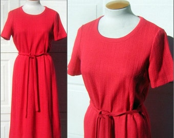 "Red Knit Dress Vintage 70s Simple Ribbed Texture Elastic Waist Comfy & Casual BUST 40"" but Stretchy CLEARANCE"
