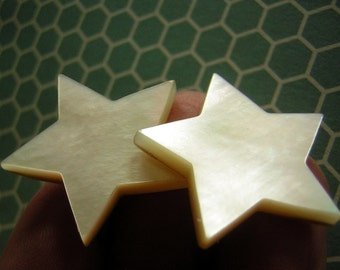 Vintage 40s Star Earrings Lustrous Mother Of Pearl Cut Outs 4th of July Sterling Silver Screwbacks