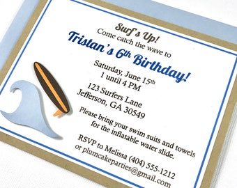 Surfboard Beach Wave Birthday Party Invitations