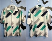 Vintage Mens 80s does 50s Button Up Shirt Abstract Print MCM Retro Rockabilly Modern Size Large