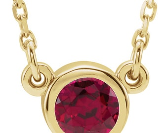 July Birthstone Ruby Bezel Necklace - 14k, 18k Yellow, Rose, White Gold & Platinum. 4mm Genuine AA Ruby. Birthday Gift Idea for Her