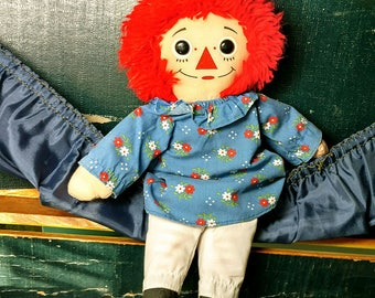 "Vintage Raggedy Ann Doll Hasbro Softies 12"" I Love You"