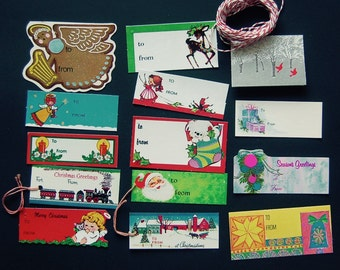 Lot of 14 Mid Century 1960's Vintage Christmas Gift Tags, with Candy Stripe Baker's Twine