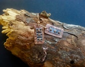 Copper and Silver Rectangle Earrings - Cold Connection Dangles - Copper and Fine Silver - PMC