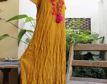 Bohemian Embroidered Long Dress - Mustard