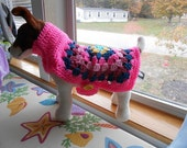 Crochet Granny Square Dog Sweater Easy to put on ! Hand made by Kams-store.com