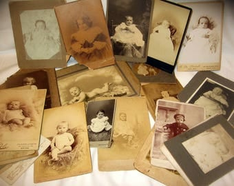 25 Antique Babies & Children Cabinet Cards Portrait Photos HUGE Lot SHABBY Fun for altered art junk journals tags cards  framing CHEAP  kids