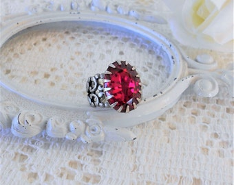 Fuchsia Ring, Crystal Ring, Statement Cocktail Ring, Adjustable Ring, Vintage Style Ring, Estate Jewelry, Antique Silver Ring, Magenta Ring