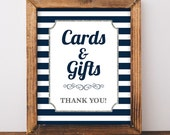 Cards and Gifts Sign, Navy & White Stripe Baby Shower Sign, Silver Glitter, 2 Sizes, DIY Printable, INSTANT DOWNLOAD
