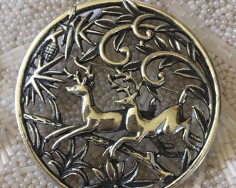 Vintage 1960's Sarah Coventry Silver Tone Woodland Deer Brooch Pendant, estate jewelry, holiday deer pin