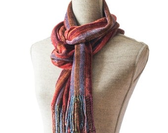 Deep Red Chenille Scarf