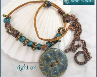 Blue Teal Hippie Necklace, Stoneware Button Necklace, Statement Jewelry, Satin Cord Necklace, Long Copper Necklace, Funky Jewelry