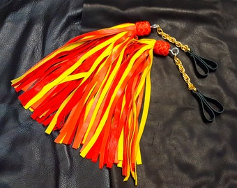 Lambskin Finger Floggers in Fire Colors, BDSM Floggers
