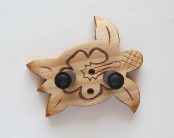 Ukulele wall mount hanger, hand carved honu/hibiscus, sea turtle