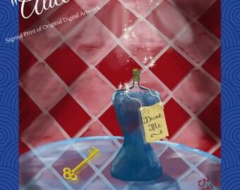 "Alice in Wonderland art print, ""Alice"" -- print of original digital artwork, 8x8 inch print, signed art, fairy tale art"