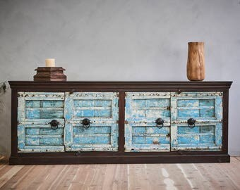 Antique Indian Door Sideboard Buffet Media Console Blue Doors