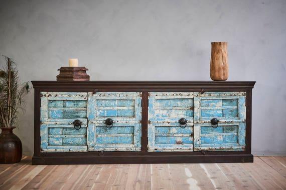 - Antique Indian Door Sideboard Buffet Media Console Blue Doors
