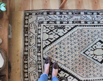 "6'8"" x 3'11"" vintage Persian rug, rustic geometric faded rug, happy worn bohemian muted colors rug"