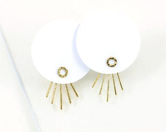 Gold plated earjacket earrings, 5 hammered threads and circle pod, handmade in France