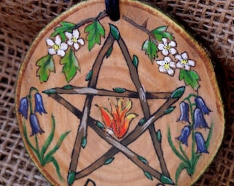 Beltane Wall Plaque. May day, Hand drawn and painted,  Pentacle, Pentagram, Altar tile, Spring, Pagan, Hedgewitch. Wicca, OOAK,