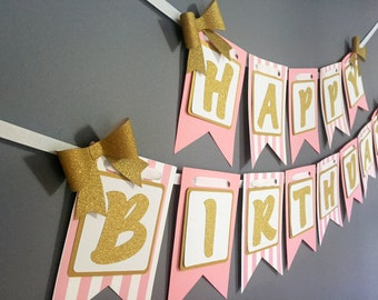 Gold and Pink Birthday Banner - Pink Sparkle Birthday Decoration -Gold Bows- Pink Gold White