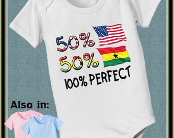 50 American 50 Ghana 100 Perfect flag country nationality baby infant  Bodysuit baby bodysuit, baby shower gift