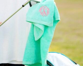 Personalized Monogrammed Mint Golf Tennis Towel--Free Monogramming--