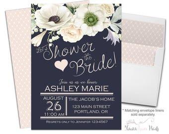 NAVY Bridal Shower Invitations, Shower The Bride Invitation, Engagement Party Invites, Engagement Invitation, Bridal Invite, Wedding Shower