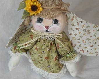 Rabbit cloth art doll, bunny rabbit, fall rabbit, hand made bunny rabbit for fall autumn, green orange fall colors, sunflower hat
