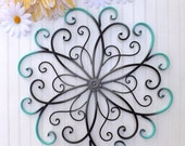 HOLIDAY SALE GRAY // Teal // Black // Large Metal Wall Art // Bedroom Wall Decor //Flower Wall Art