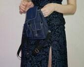 90s dark blue denim mini backpack