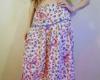 vtg 50s pink bow and floral print hand made skirt size medium
