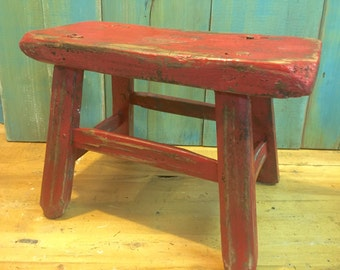Vintage Chinese Red Step Stool Rustic Footstool Bench Country Farmhouse Beach House Decor at CastawaysHall - Ready to Ship