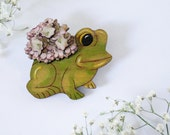 Nambucca Heads Vintage Frog Planter Wearable Art Pin by Winnifreds Daughter