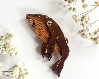 Drifting Whale Wearable Art Brooch (Vintage Seaside Tavern Edition) by Winnifreds Daughter
