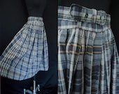 "Classic Blue Plaid Vintage 1950's Women's Rockabilly Full Skirt XS S 26""W"