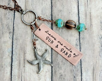 Beach Necklace - Beach Jewelry - Beach Charm Necklace - Long Charm Necklace - Beach Quote Necklace - Sun and Sand - Starfish Necklace
