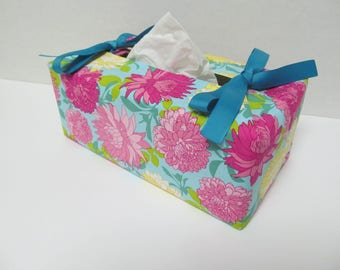 Tissue Box Cover/Dahlia x Turquoise Ribbon