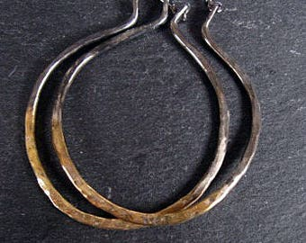 Boho Hoop Earrings 22K Gold Sterling Silver Hoop Earrings Large Hoop Earrings Gold Hoop Earrings Black Hoops Gold Hoops Hammered Silver