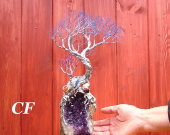 Wire Tree Of Life sculpture, Wind Tree Spirit, Uruguay Amethyst Quartz, Sea Shell, Blue Kyanite, Carnelian, unique home decor metal tree art