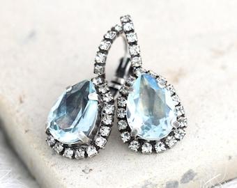 Aquamarine Earrings, Light Blue Earrings, Bridal Aquamarine Drop Earrings, Blue  Drop Earrings, Light Azore Earrings, Swarovski Earrings