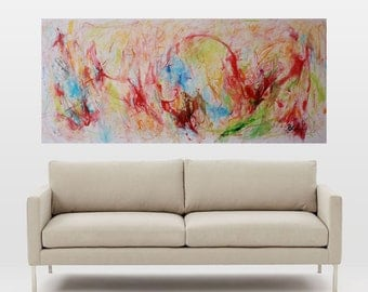 abstractive expression,large wall decor,expressionist abstract,painting on canvas,wall art,canvas art,red,green,expressionist abstract
