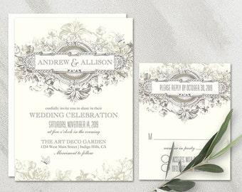Art Deco Wedding Invitation Printable Set Vintage 20's Wedding Gatsby Style Art Nouveau Invitation DIY Digital Template RSVP And Invite