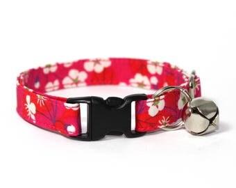 "Cerise Pink Floral Liberty Cat Collar - ""Alison"""