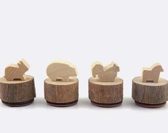 4Pcs Wooden Rubber Stamps Set -Rubber Stamps-Stamp Set
