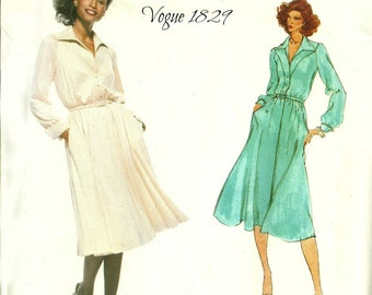 Vogue American Designer Pattern 1829 Belted Dress Full Skirt Size 10 Bust 32